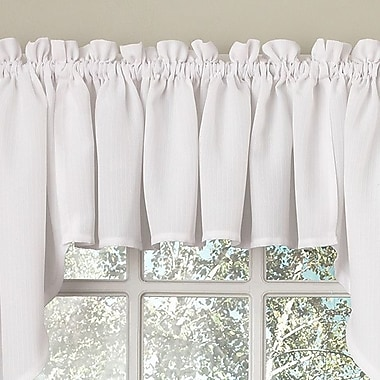 Sweet Home Collection Opaque Ribcord Swag 27'' Curtain Valance (Set of 2); White