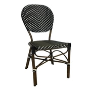 String Light Co Stacking Patio Dining Chair; Black/White