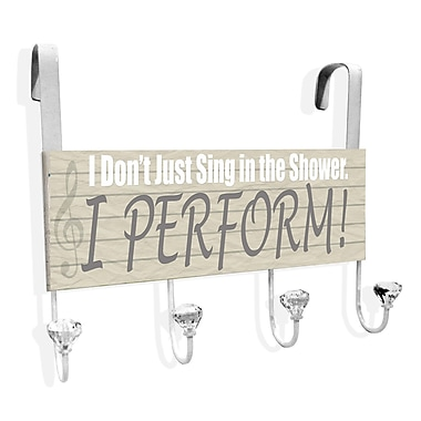 Stupell Industries I Don't Just Sing I Perform Over-the-Door Towel Hanger