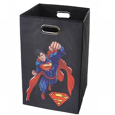 Modern Littles Superman Folding Laundry Hamper; Black
