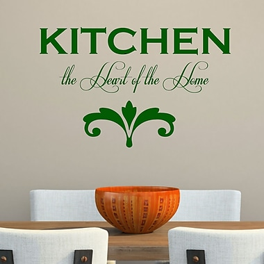 DecaltheWalls Kitchen the Heart of the Home' Wall Decal; Dark Green