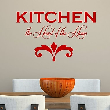 DecaltheWalls Kitchen the Heart of the Home' Wall Decal; Red