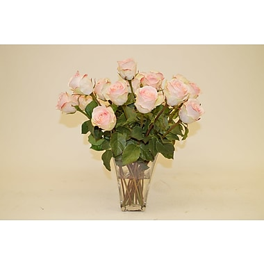 The French Bee Light Pink Roses in Glass Vase