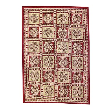 American Mills Patchwork Floral Red Area Rug; 2'7'' x 4'8''