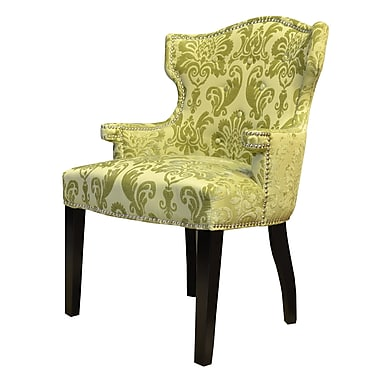 HD Couture Brittania Wingback Chair; Chartruese
