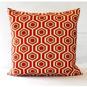 Fino Lino Hexagon Throw Pillow; Red