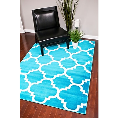 Persian-rugs Turquoise Indoor/Outdoor Area Rug; Rectangle 7'10'' x 10'6''