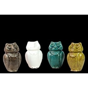 "Urban Trends Ceramic Figurine, 6""L x 5""W x 10""H, White, Brown, Green, Blue, 4/Set (10624-AST)"