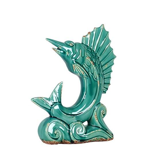 """Urban Trends Ceramic Figurine, 11"""" x 3.5"""" x 13"""", Turquoise (10822)"""