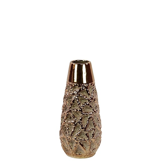 "Urban Trends Ceramic Vase, 5""L x 5""W x 11.5""H, Gold (11101)"