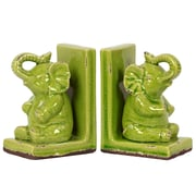"Urban Trends Stoneware Bookend, 5.75""L x 4""W x 8.5""H, Green (11143)"