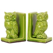 "Urban Trends Stoneware Bookend, 5.75""L x 4""W x 8.5""H, Green, 2/Set (11144)"