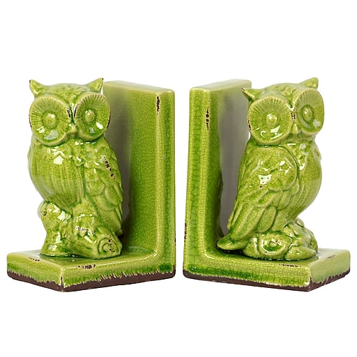 "Urban Trends Stoneware Bookend, 5.75""L x 4""W x 8.5""H, Green, 2/Set (11144)"