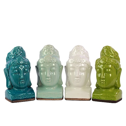 "Urban Trends Ceramic Head, 6"" x 5.75"" x 11.5"", White, Green, Blue, Turquoise, 4/Set (11160-AST)"