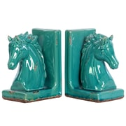 "Urban Trends Stoneware Bookend, 6""L x 4""W x 8.5""H, Turquoise, 2/Set (11182-AST)"