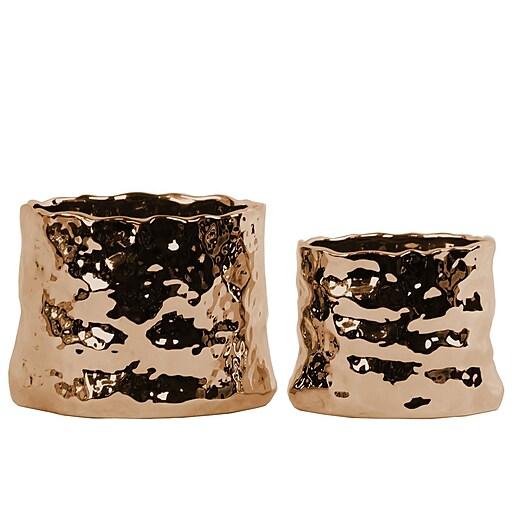 "Urban Trends Ceramic Pot, 6.75"" x 6.5"" x 5"", Copper (12561)"