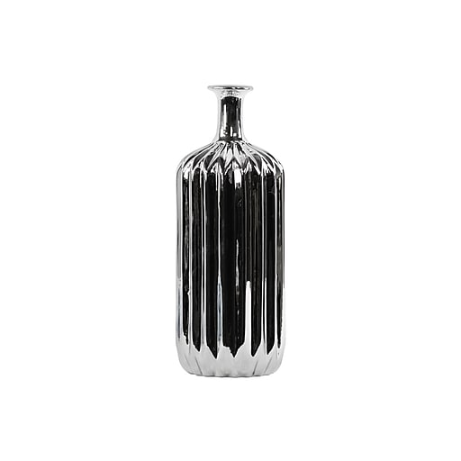 """Urban Trends Ceramic Vase, 4.75"""" x 4.75"""" x 12.5"""", Silver (12574)"""