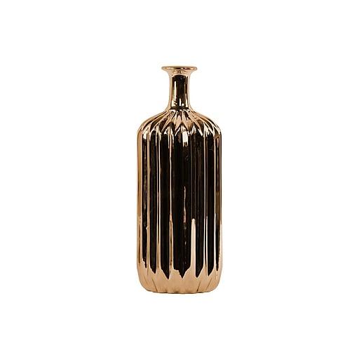 """Urban Trends Ceramic Vase, 4.75"""" x 4.75"""" x 12.5"""", Copper (# 12575)"""
