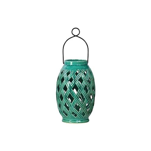 "Urban Trends Ceramic Lantern; 6.75""L x 6.75""W x 10.25""H, Turquoise (12905)"