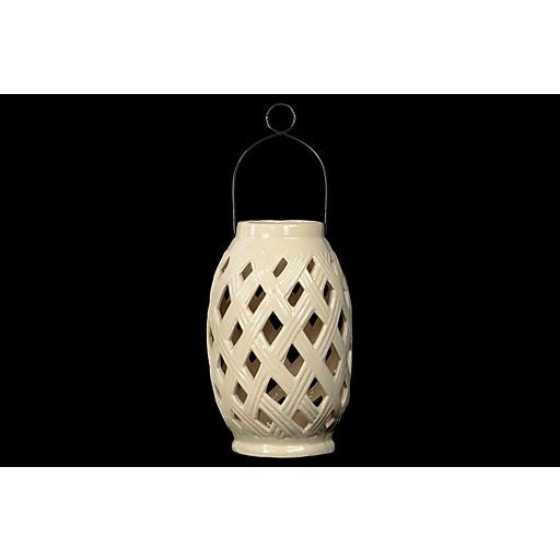 "Urban Trends Ceramic Lantern; 6.75""L x 6.75""W x 10.25""H, White (12906)"