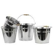 """Urban Trends Metal Bucket, 11.5""""L x 8.75""""W x 10""""H, Silver, 4/Set (13300)"""