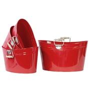 """Urban Trends Metal Bucket, 14.2"""" x 7.9"""" x 7.1"""", Red, 4/SET (13311)"""