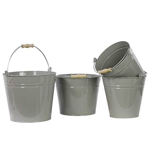 "Urban Trends Metal Bucket, 11.5"" x 8.7"" x 9.85"", Gray (13312)"