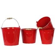"""Urban Trends Metal Bucket, 11.5"""" x 8.7"""" x 9.85"""", Red (13315)"""