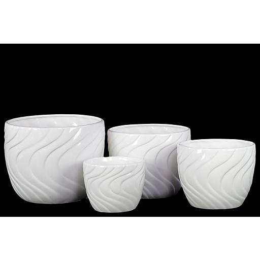 "Urban Trends Ceramic Pot, 8.25"" x 8.25"" x 6.5"", White, 4/SET (13506)"