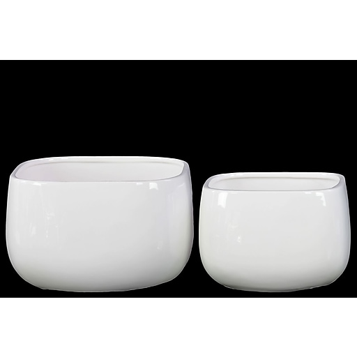 "Urban Trends Ceramic Short Square Pot, 7.25"" x 7.25"" x 6.25"", White (13508)"