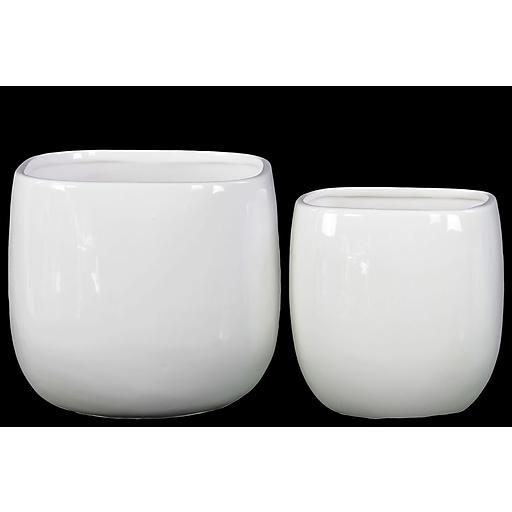 "Urban Trends Ceramic Pot, 7.75""L x 7.75""W x 4.75""H, White, 2/Set (13510)"