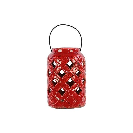 "Urban Trends Ceramic Lantern; 5.75""L x 5.75""W x 7.75""H, Red (13612)"
