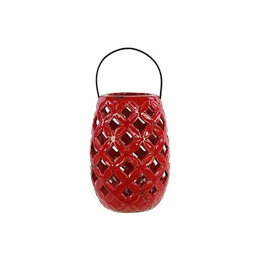 "Urban Trends Ceramic Lantern; 8.75"" x 5.75"" x 8.75"", Red (13618)"