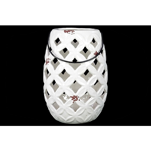 "Urban Trends Ceramic Lantern; 8.75"" x 5.75"" x 8.75"", White (# 13619)"