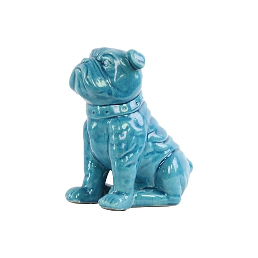 "Urban Trends Ceramic British Bulldog Figurine, 6.75"" x 4.75"" x 8.25"", Turquoise (13835)"