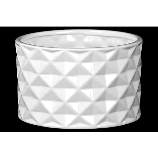 """Urban Trends Ceramic Pot, 7.75""""L x 7.75""""W x 5""""H, White (14003)"""