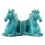 "Urban Trends Ceramic Bookend, 6.25"" x 3.5"" x 8.5"", Turquoise, 2/SET (14015)"