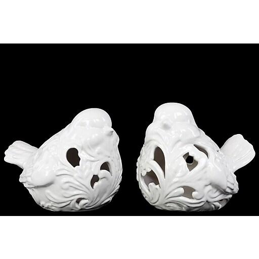 """Urban Trends Ceramic Figurine, 7""""L x 5.5""""W x 5.5""""H, White, 2/Set (14114-AST)"""