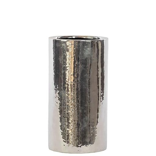 """Urban Trends Ceramic Vase, 5.5"""" x 5.5"""" x 10"""", Silver (# 21220)"""