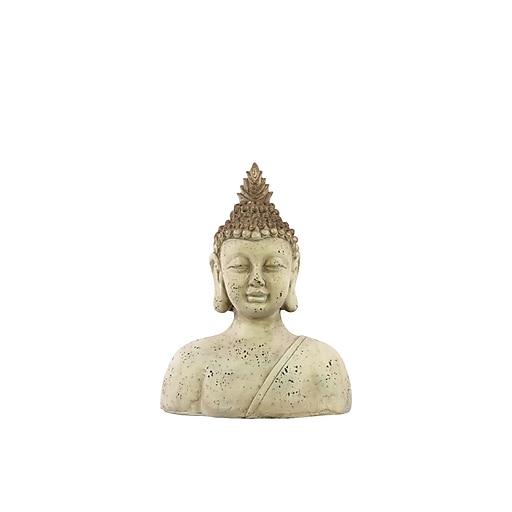 "Urban Trends Fiberstone Buddha Bust, 14.75"" x 7"" x 19"", White (23409)"