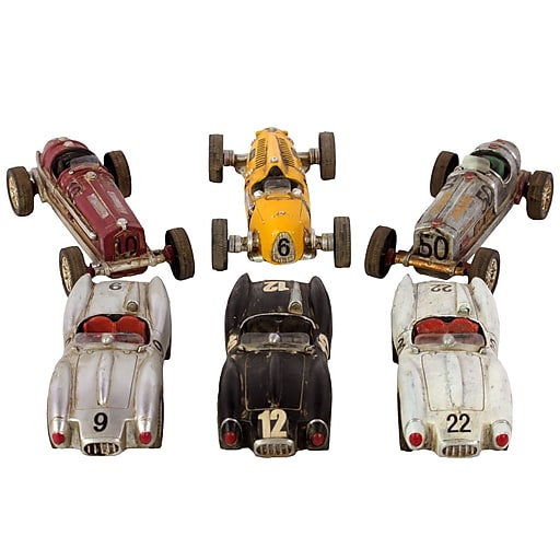 """Urban Trends Resin Sculpture, 8.5""""L x 3""""W x 2.5""""H, Black, Gray, Silver, White, Red, Yellow, 6/Set (23504-AST)"""