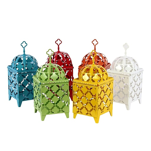 "Urban Trends Metal Lantern; 6.5""x6.5""x14.5"" White, Red, Orange, Yellow, Green, Blue, 6set (23901AST)"
