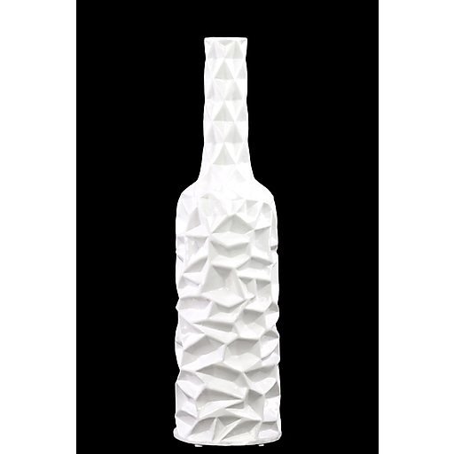 "Urban Trends Ceramic Vase, 5.25"" x 5.25"" x 19.5"", White (30948)"