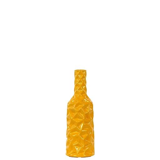 "Urban Trends Ceramic Vase, 4"" x 4"" x 12"", Yellow (24445)"