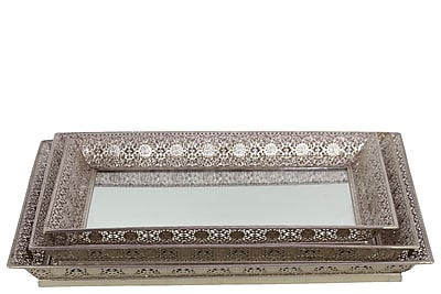 """""Urban Trends Metal Tray, 18""""""""L x 14""""""""W x 1.5""""""""H, Silver, 2/Set (25401)"""""" 2030635"