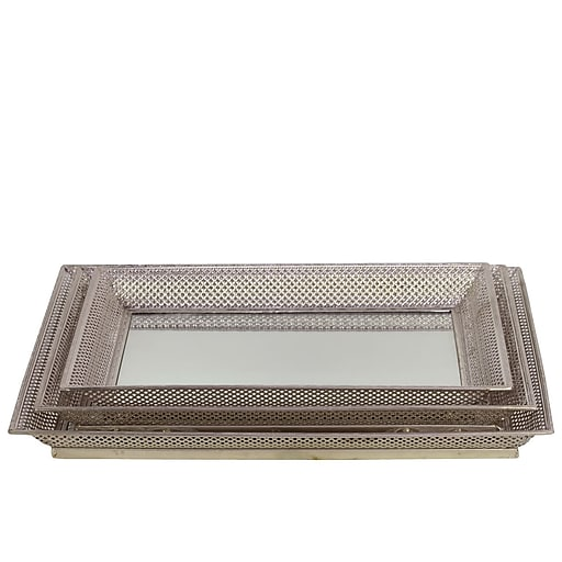 "Urban Trends Metal Tray, 18.25"" x 14"" x 1.75"", Silver (35067)"