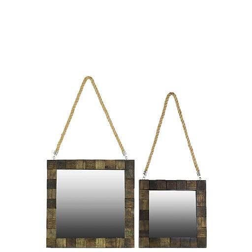 "Urban Trends Wood Mirror, 16"" x 1.5"" x 16.5"", Brown (# 25610)"