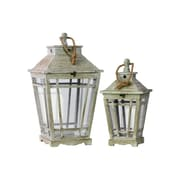 "Urban Trends Wood Lantern, 13.75"" x 13.75"" x 24.5"", Gray, 2/SET (26110)"