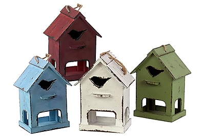 Urban Trends Wood Birdhouse, 8.5 x 6 x 12 White, Red, Green, Blue (# 26440-AST)
