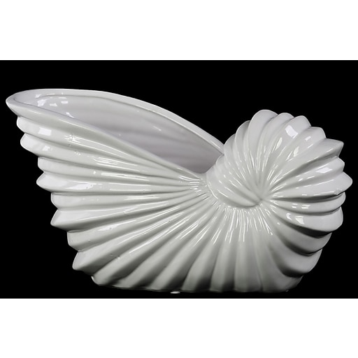 """Urban Trends Ceramic Pot, 10.5""""L x 4.5""""W x 6""""H, White (28550)"""